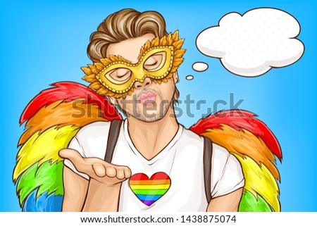 Gay pride parade pop art vector concept, banner template. Handsome homosexual man wearing carnival face mask, rainbow color feather wings, closing eyes and blowing air kiss illustration, think bubble