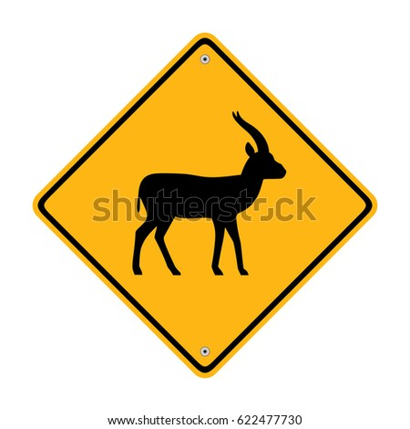 Gazelle crossing road sign. Traffic sign. Symbol, illustration
