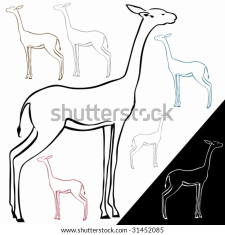 Gazelle Line Drawing : A simplified line drawing of a gazelle at profile view with color options.
