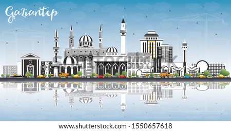 Gaziantep Turkey City Skyline with Color Buildings, Blue Sky and Reflections. Vector Illustration. Business Travel and Concept with Historic Architecture. Gaziantep Cityscape with Landmarks.