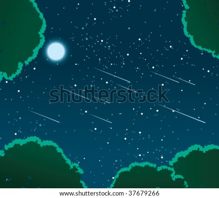 Gazing up through a forest at a natural meteor shower against a starry night sky, lit by a full moon.