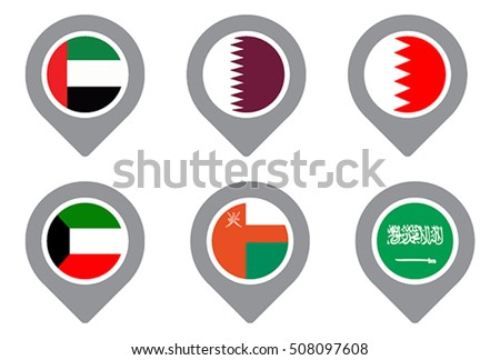 GCC Gulf country Flag Map Point isolated icon #508097608