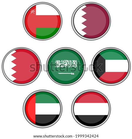GCC Gulf Country Middle East Flag 3D Icon set on isolated white background. United Arab Emirates, Kuwait, Qatar, Bahrain, Saudi Arabia, Yemen and Oman.