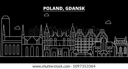 Gdansk silhouette skyline. Poland - Gdansk vector city, polish linear architecture, buildings. Gdansk travel illustration, outline landmarks. Poland flat icon, polish line banner