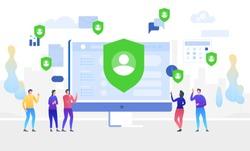GDPR concept illustration. Data protect. General Data Protection Regulation. The protection of personal data. Vector illustration