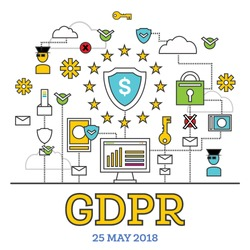 GDPR Concept. Vector Illustration. General Data Protection Regulation. The Protection of Personal Data.