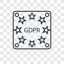 GDPR concept vector linear icon isolated on transparent background, GDPR concept transparency concept in outline style