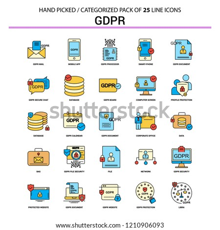 GDPR Flat Line Icon Set - Business Concept Icons Design