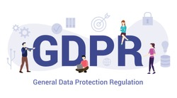 gdpr general data protection regulation concept with big word or text and team people with modern flat style - vector