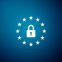 GDPR - General data protection regulation icon isolated on blue background. European Union symbol. Security, safety, protection, privacy concept. Flat design. Vector Illustration