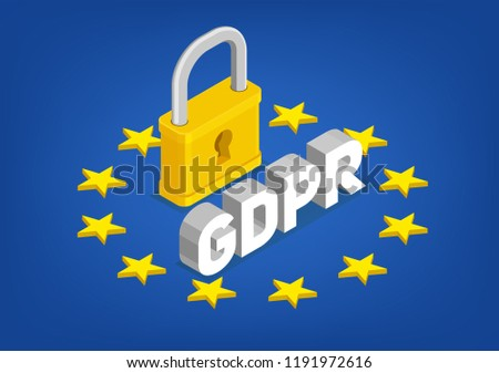 GDPR – General Data Protection Regulation. Isometric vector concept. Europe union flag with lock.