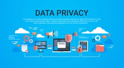 GDPR isometric infographic data privacy on blue background network protection of personal storage General Data Protection Regulation concept copy space