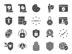 GDPR privacy policy icon set. Included the icons as security information, GDPR data protection, shield, cookies policy, compliant, personal data, padlock and more