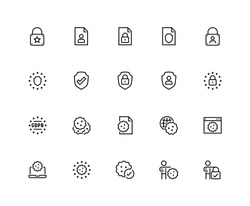 GDPR privacy policy vector icon set in thin line style. 48x48 pixel perfect