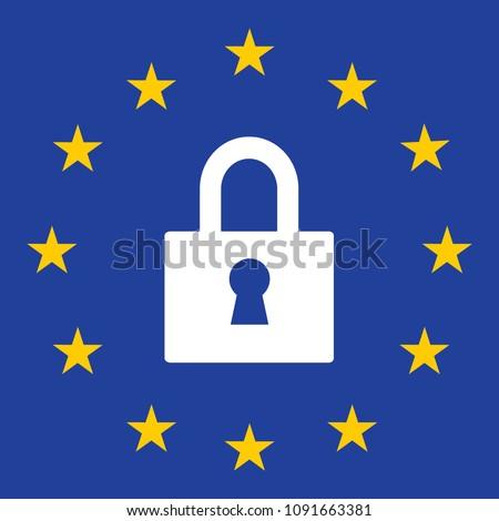 Gdpr privacy Regulation sign. European Union vector illustration. GDPR is General Data Protection Regulation in European Union.