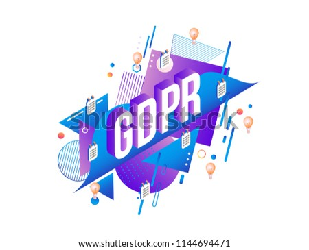 GDPR text design and calendars with light bulbs in isometric projection. General Data Protection Regulation vector illustration.
