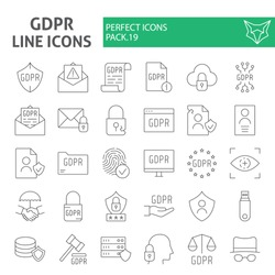 Gdpr thin line icon set, general data protection regulation symbols collection, vector sketches, logo illustrations, security signs linear pictograms package isolated on a white background, eps 10.