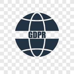 GDPR vector icon isolated on transparent background, GDPR transparency logo concept