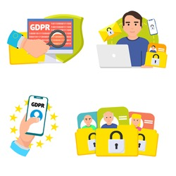 GDPR vector set. GENERAL DATA PROTECTION REGULATION icons collection. GPDR vector images, design concept for leaflet, annual report. GPDR creative vector idea. GENERAL DATA PROTECTION REGULATION set.