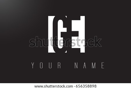 GE Letter Logo With Black and White Letters Negative Space Design.