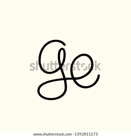 GE monogram.Signature style logo with handwritten lowercase letter g and letter e.Typographic lettering icon isolated on light background.Calligraphic alphabet initials.Script line sign.