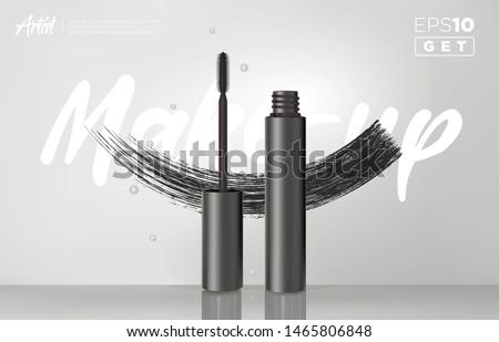 Gealistic vector black Mascara Bottle. Brush and mascara tube. Black wand and mascara tube. Fashionable cosmetics Makeup design for Eyes.