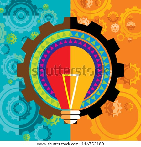 gear and bulb with colorful background