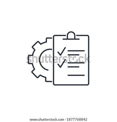 Gear and check list. Technical description and characteristics. Vector linear icon isolated on white background. Foto stock ©