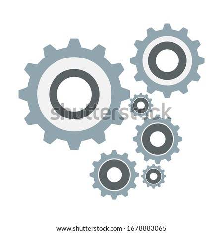Gear and cog icon in white background. Gear and cogs icon. Gear logo in vector format. Gear mechanism illustration. Gears icon as a teamwork symbol. This icon consists of 6 gears.