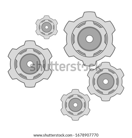Gear and cog mechanism icon in white background. Gear and cogs icon. Gear mechanism logo in vector format. Gear mechanism illustration. Gears icon as a teamwork symbol. This icon consists of 6 gears.