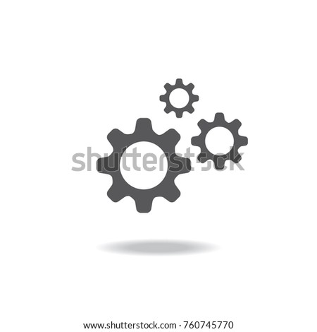 Gear and settings icon symbol in engineering construction concept on white background,vector illustration.