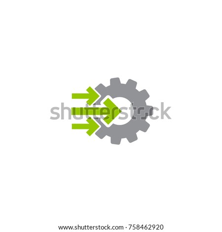 Gear and three right green arrows icon isolated on white. Green and grey colors. Vector flat illustration for technology or innovation. Technology pictogram. Gear Integration.