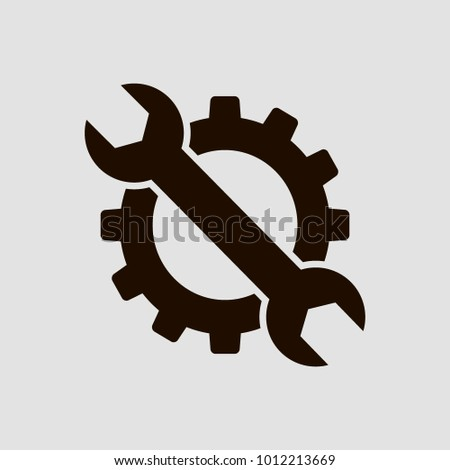 Gear and wrench. Flat vector icon.