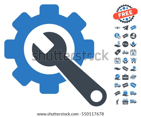 Gear and Wrench pictograph with free bonus pictures. Vector illustration style is flat iconic symbols, smooth blue colors, white background.