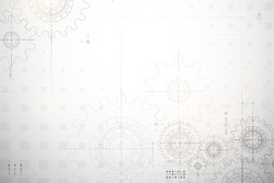 Gear blueprint technical background. Cogs and wheels in gray color. Abstract parts of engine. Vector illustration.