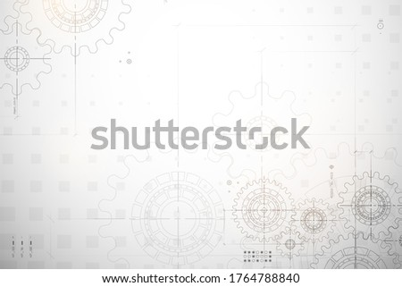 Gear blueprint technical background. Cogs and wheels in gray color. Abstract parts of engine. Vector illustration. stock photo