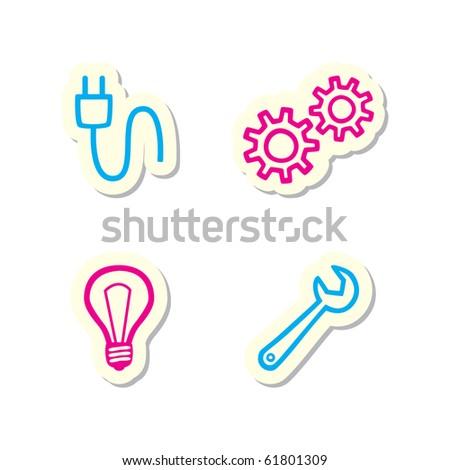 Gear, Bulb, Spanner, Plug Icons