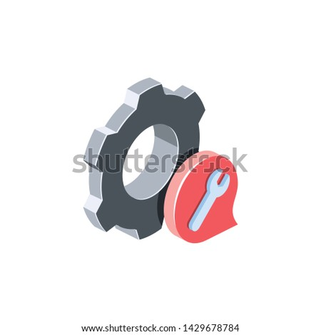 Gear chat service, settings. Vector 3d isometric color icon new flat style. Creative illustration, idea for infographics.
