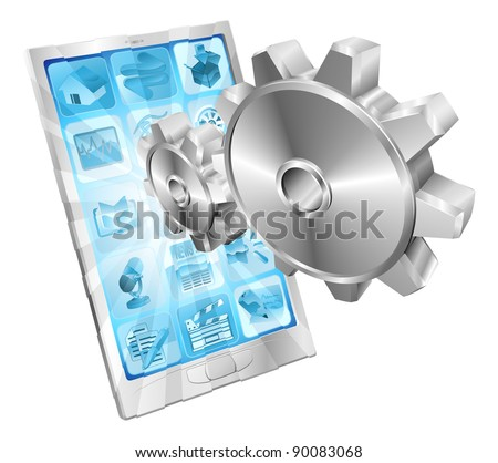 Gear cogs flying out of phone screen tune up or settings application concept illustration. - stock vector