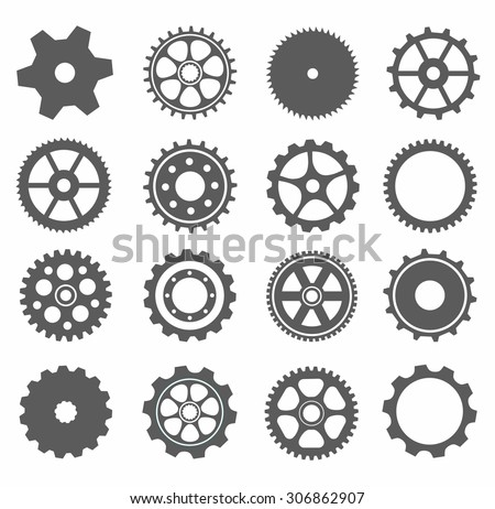 gear collection machine gear (wheel cogwheel vector, set of gear wheels, collection of vector gear). Can be the app button for web. 16 gear picture, can be used for your gear application