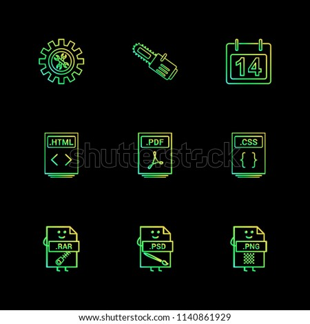 Gear cutter calender html pdf css   compressed File type icon.  rar  psd  photoshop  png    vector design  flat  collection style creative  icons