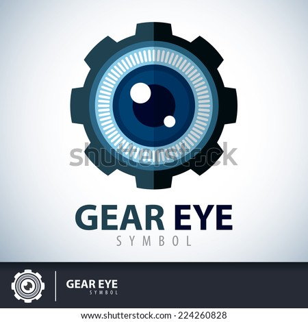 gear eye symbol icon logo