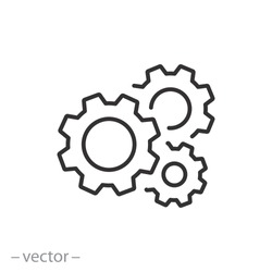 gear icon, cog wheel, engine circle, thin line web symbol on white background - editable stroke vector illustration eps10