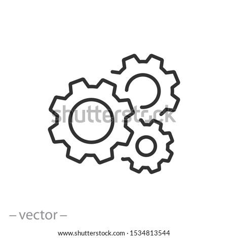 gear icon, cog wheel, engine circle, thin line web symbol on white background - editable stroke vector illustration eps10
