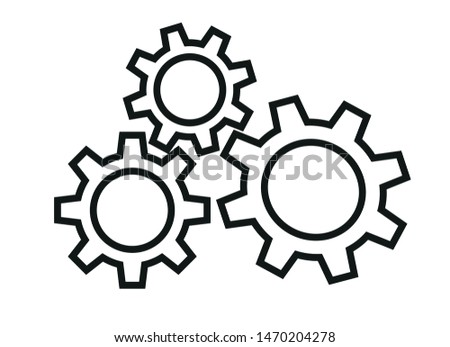 Gear icon. Engineering mechanism. Symbol of mechanization. Machinery industrial technology sign. Progress concept illustration. - Vector eps 10