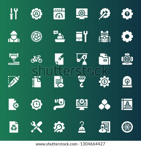 gear icon set. Collection of 36 filled gear icons included Wheel, Files, Hook, Setting, Tools, File, Maintenance, Benzene, Web settings, Lever, Settings, Incubator, d printing pen