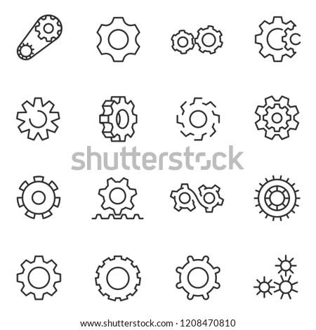 gear, icon set. gears,gearwheel mechanism, linear icons. Line with editable stroke