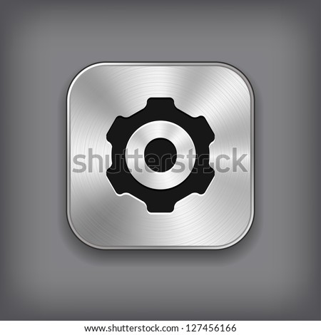 Gear icon vector metal app button