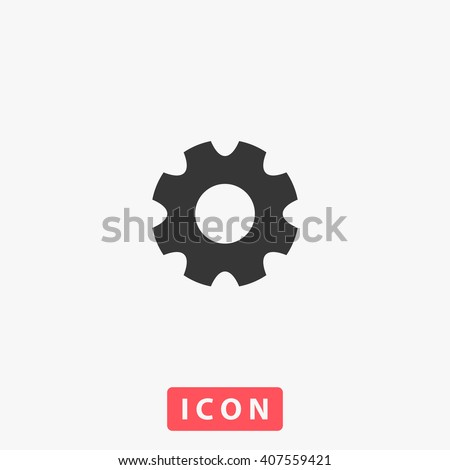 gear Icon vector. Simple flat symbol. Perfect Black pictogram illustration on white background.