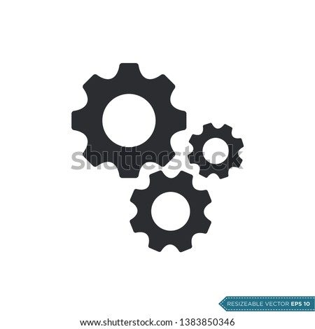 Gear Icon Vector Template, Flat Design Engineering Cogwheel Illustration Design